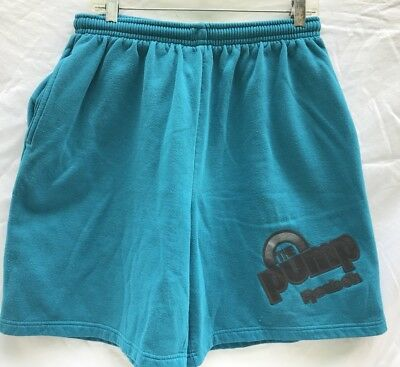 Vintage 80s Reebok The Pump Athletic Shorts Mens Sz XL Turquoise 50/50 Blend