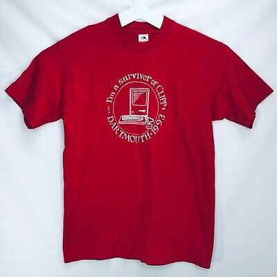 Fruit Of The Loom TShirt T-Shirt 1993 Vintage Size Large Dartmouth Clipp Red