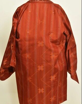 Vintage Japanese Ladies' Silky Rust/Orange Striped Michiyuke Kimono Coat M/L