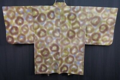 Vintage Japanese Ladies' Green/Brown 'Smudgy Circles' Kimono Haori Jacket MED
