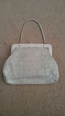 Glomesh Vintage Large 1950s White Handbag with Tag-Made In Australia