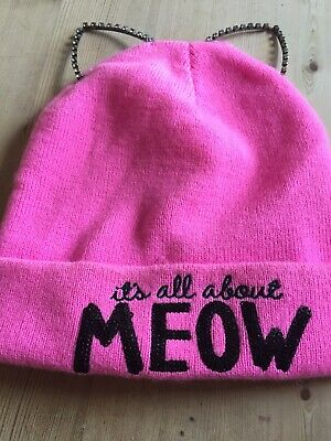 Claires Pink 'it's all about Meow' Beanie Style Wooly Hat Age 9-14 Approx