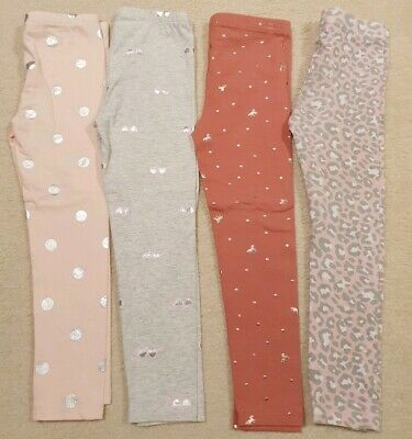 COTTON ON & SEED HERITAGE Girls Bulk Pink/Grey/Gold/Silver Leggings Size 4