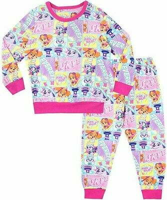 Girl Paw Patrol Fleece Pyjama Set Pjs Nightwear Warm Character Twosie Kids Gift