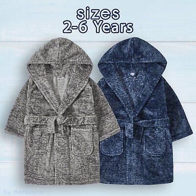 Kids Boys Dressing Gown Infant Childs Hooded Bathrobe Lounge Gowns Faux Marl NEW
