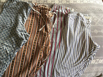 1950s Vintage Paisley And Striped Pyjama Trousers Size Large X 4