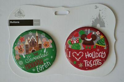 Disney Parks Christmas Sweet Treats Holiday Food Button Set New With Tags