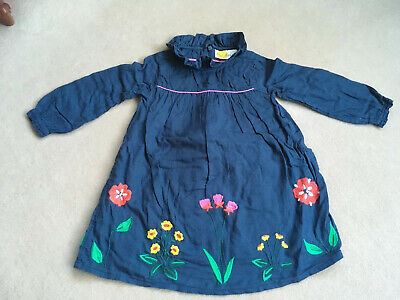 Mini Boden Girls Dress Age 2-3 blue With Embroidered Flowers