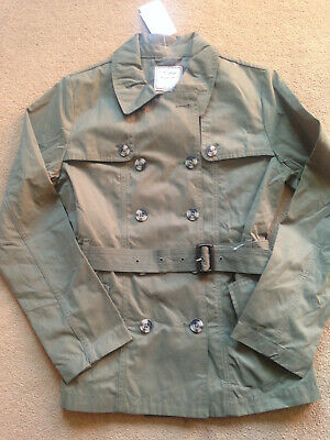 BNWT NEXT Girls Khaki Belted Shower Resistant Mac Jacket Trench Coat 14 Years