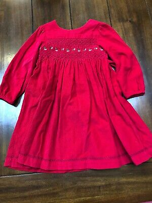 Girls Red Cord Christmas Party Dress Jojo Maman Bebe 3-4 Years