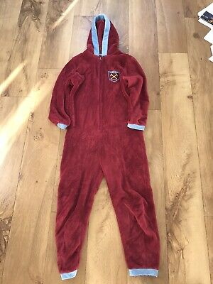 Official West Ham United Football Club Fleece Jumpsuit Onesy Age 11- 12 Years