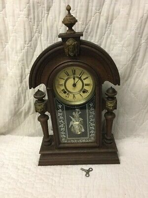 Magnificent Antique Ansonia KING Parlor Mantel Clock Art Nouveau Gothic Pattern