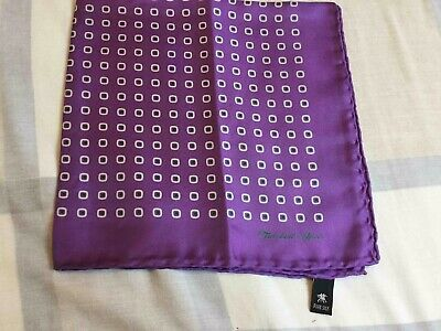 Turnbull & Asser Rare Silk Handkerchief. Purple With Print.made In England