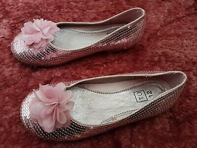 Tu Girls Uk 12 Pink Sparkly Sequin Party Shoes Ballerina Flats With Flower Bnwob