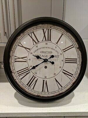 Large Hendon Vintage Port Distressed Look Wall Clock from Oak Furniture Land,