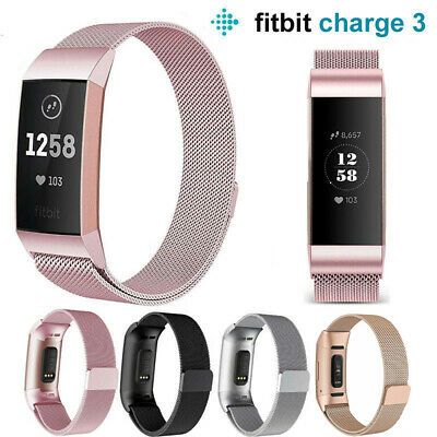For Fitbit Charge 3 Strap Replacement Milanese Band Stainless Steel Magnet New