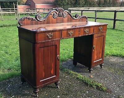 A large old barn find antique Victorian rosewood chiffonier sideboard with back