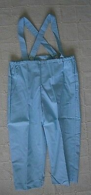 Vintage Cotton Over-Trousers - Age 5 Years - Blue - Detachable Straps -Lined-New
