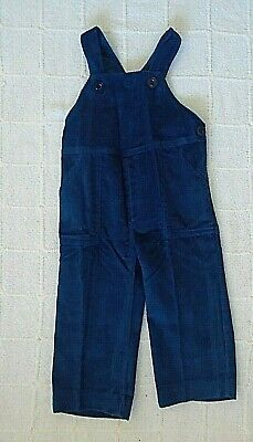 Vintage French Needlecord Dungarees - Age 3 -Petrol Blue - Button Straps - New