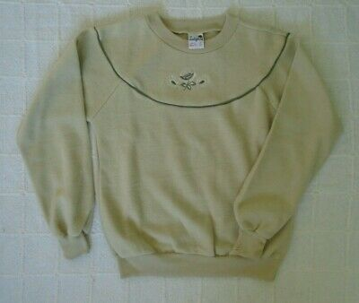 Vintage Ladybird Fleece Sweater Age 10 - Pale Green - Embroidered - New-Defects