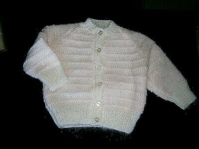 Vintage Hand-Knit Baby Cardigan  - Age 6 months Approx - White/Pink Stripes -New