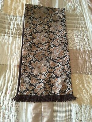 Vintage Tootal Wool Backed Brown/Black  Paisley Scarf. Mod Retro