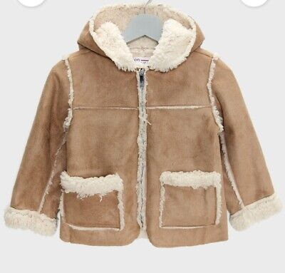 MINOTI GIRLS SUEDE FEEL JACKET WITH SOFT FAUX FUR LINING *SIZES 3-4Yrs to 7-8Yrs