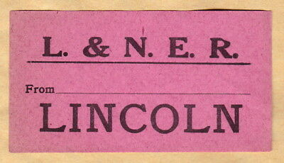 LONDON & NORTH EASTERN RAILWAY LUGGAGE LABEL - LINCOLN (Pink)