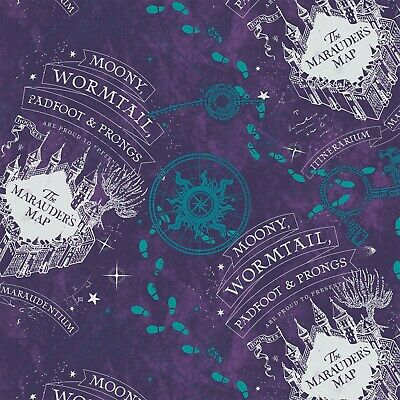 Harry Potter Marauders Map Purple - Flannel - Fabric Material