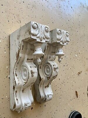 Pair Distressed White Wooden Corbels Farmhouse Shabby Chic Architectural
