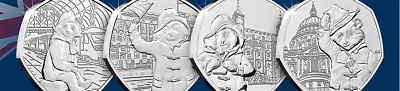 New 2018/2019 Paddington Bear 50p ALL FOUR Coins. (From sealed bags) L3.