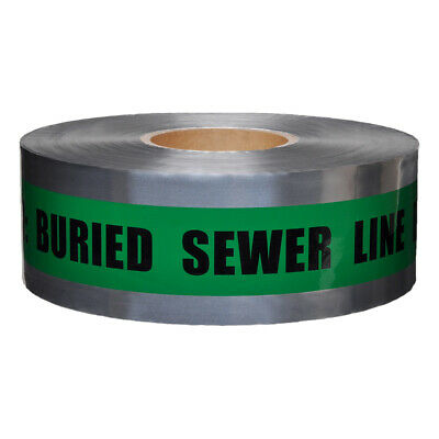 Presco Underground Detectable Tape: 3 in. x 1000 ft. Green/Black CAUTION BURIED