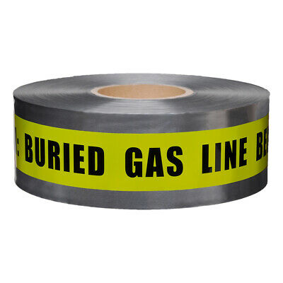 Presco Underground Detectable Tape: 3 in. x 1000 ft. Yellow/Black CAUTION BURIED