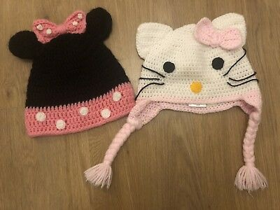2 Cute Girls Knitted Hats Hello Kitty Minnie Mouse Themed Age 2-4 years approx