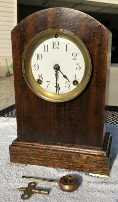 1920's Antique Ansonia Mantel Shelf Kitchen Clock Working Correctly In Walnut