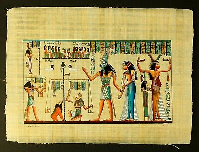 Rare Authentic Hand Painted Ancient Egyptian Papyrus-Queen Nefertari & Horus