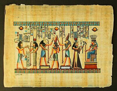 Rare Authentic Hand Painted Ancient Egyptian Papyrus-Ancient Kings and Queens