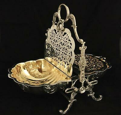 Vintage English Silver Plate Embossed Repousse Shell Bun Warmer Biscuit Box
