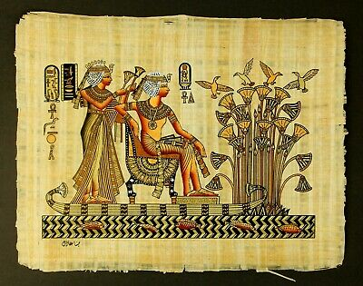 Rare Authentic Hand Painted Ancient Egyptian Papyrus-King Tut & wife in boat
