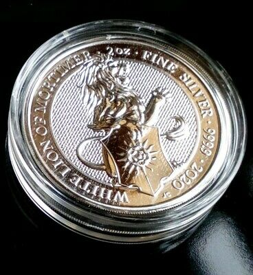 2020 Queens Beasts White Lion of Mortimer 2oz Silver Bullion Coin in capsule