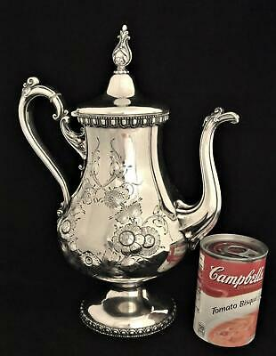 Victorian Mead Robbins Civil War Era Floral Repousse Embossed Teapot Coffee Pot