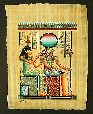 Rare Authentic Hand Painted Ancient Egyptian Papyrus - Ra-Horakhty