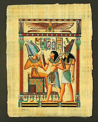 Rare Authentic Hand Painted Ancient Egyptian Papyrus-Osiris, Seti and Horus