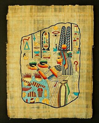 Rare Authentic Hand Painted Ancient Egyptian Papyrus-Queen Nefertari Offerings