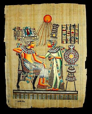 Rare Authentic Hand Painted Ancient Egyptian Papyrus-King Tutankhamun & his Wife