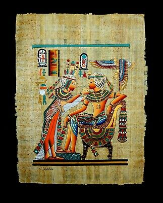 Rare Authentic Hand Painted Ancient Egyptian Papyrus-King Tut & Wife Gold Shrine