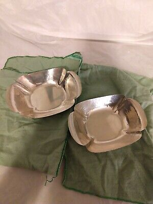 Vintage Randahl Sterling Silver Hammered Dish / Bowl - PAIR. Original Stickers.