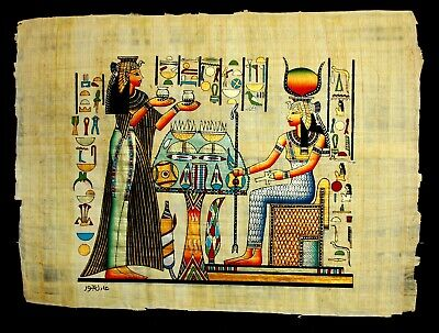 Rare Authentic Hand Painted Ancient Egyptian Papyrus Queen Nefertari Offerings