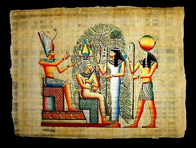 Rare Authentic Hand Painted Ancient Egyptian Papyrus-Nefertari Journey to A life
