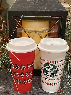 2 Starbucks Holiday Christmas 2019 Red Merry & White Reusable Cups w/ Lids 16oz
